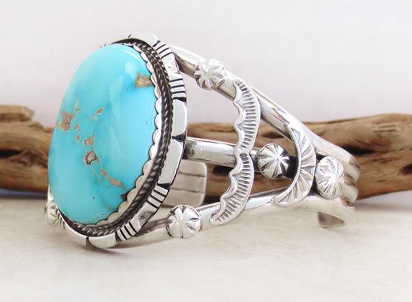 Image 3 of Big Royston Turquoise & Sterling Silver Bracelet Alfred Martinez - 3792dt