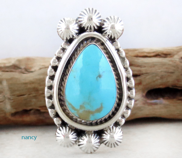 Turquoise & Sterling Silver Ring size 7.5 Navajo - 3354rb