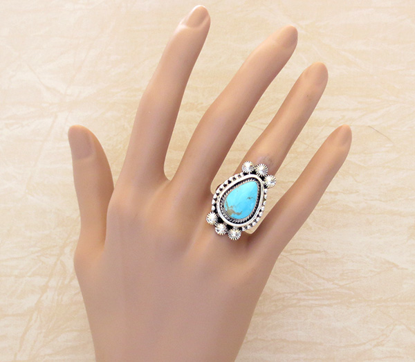 Image 4 of   Turquoise & Sterling Silver Ring size 7.5 Navajo - 3354rb