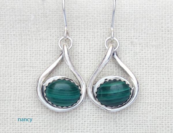 Green Malachite & Sterling Silver Earrings Navajo Made - 2976sn