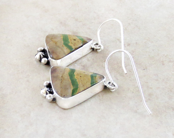Image 1 of Green Boulder Ribbon Turquoise & Sterling Silver Earrings Navajo - 4102sn