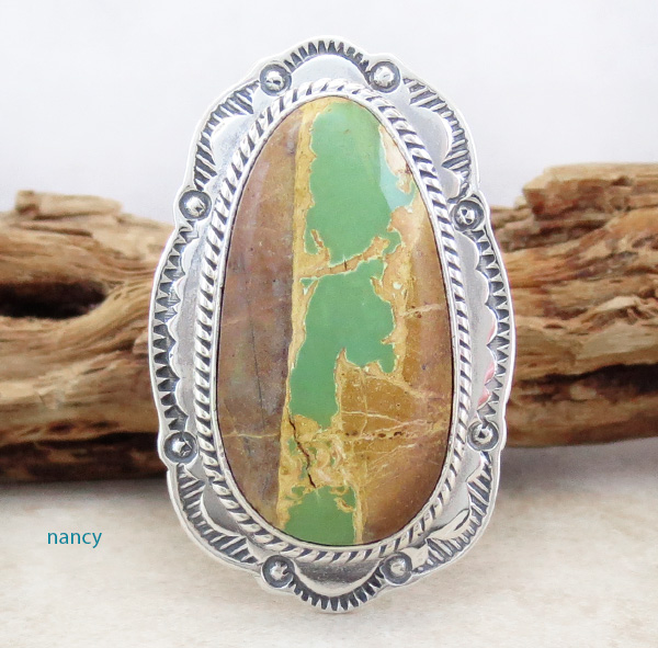 Green Boulder Turquoise & Sterling Silver Ring Size 8 Joe Piaso Jr - 4105sn
