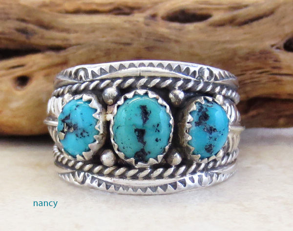 Classic Sterling Silver & Turquoise Ring Size 10 Betty Begaye - 3925rb