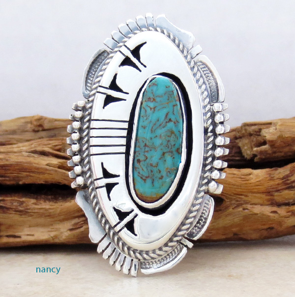 Big Turquoise & Sterling Silver Ring Size 8 Bennie Ration Navajo - -4302br