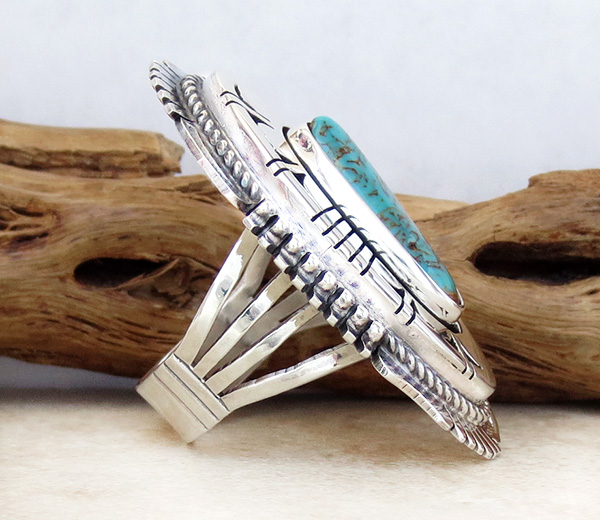 Image 1 of  Big Turquoise & Sterling Silver Ring Size 8 Bennie Ration Navajo - -4302br