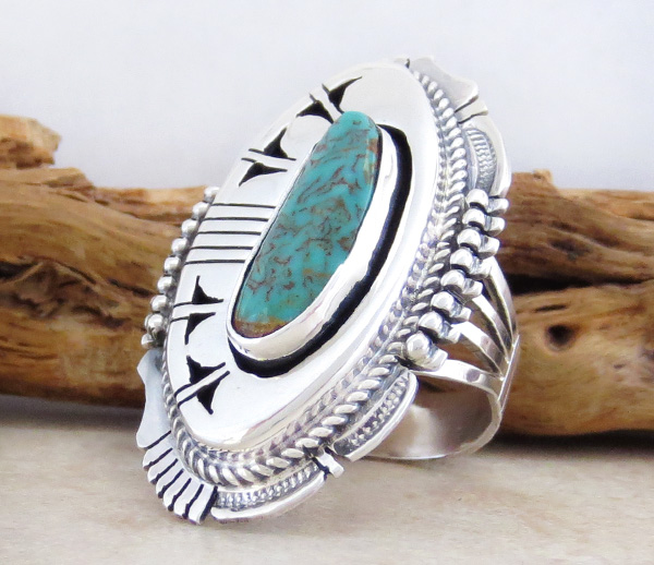 Image 2 of  Big Turquoise & Sterling Silver Ring Size 8 Bennie Ration Navajo - -4302br