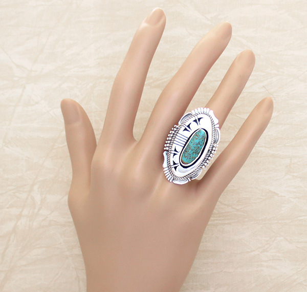 Image 4 of  Big Turquoise & Sterling Silver Ring Size 8 Bennie Ration Navajo - -4302br