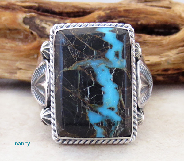 Sunnyside Turquoise & Sterling Silver Ring Size 9.5 Navajo Made - 3927sn