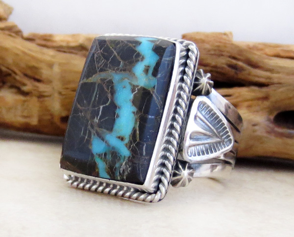 Image 2 of Sunnyside Turquoise & Sterling Silver Ring Size 9.5 Navajo Made - 3927sn