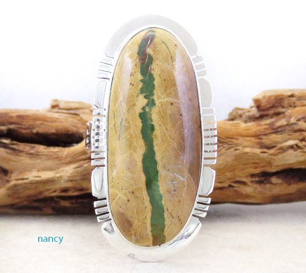 Image 0 of  Green Boulder Turquoise & Sterling Silver Ring Size 9 Philip Sanchez - 3928sn