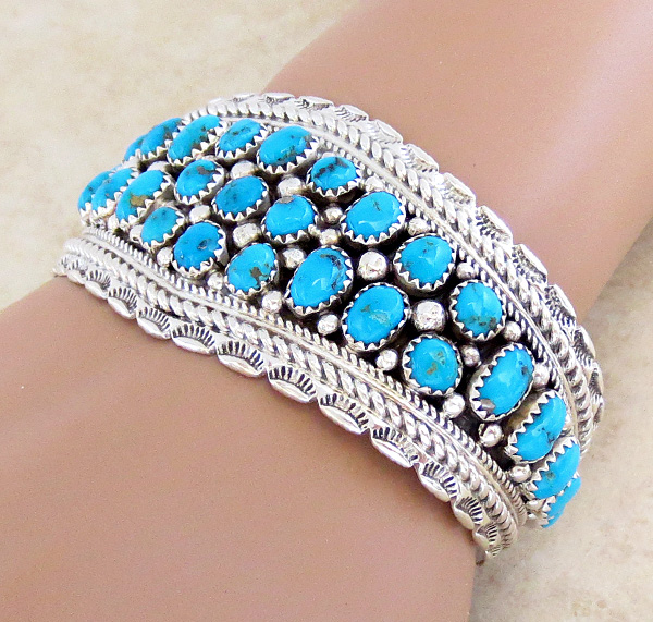 Image 0 of   Sleeping Beauty Turquoise & Sterling Silver Bracelet Navajo - 3921sn