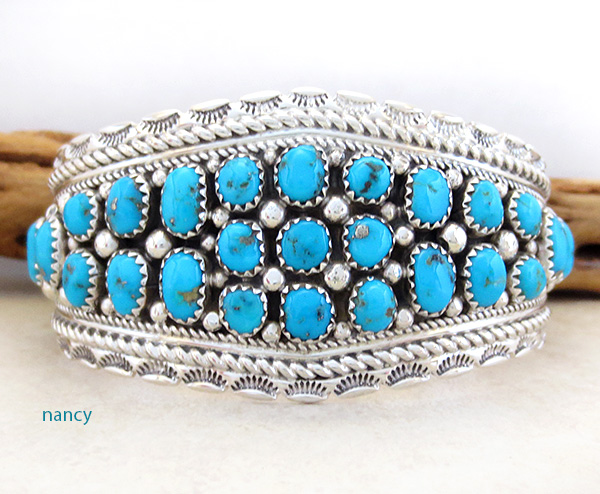 Image 1 of   Sleeping Beauty Turquoise & Sterling Silver Bracelet Navajo - 3921sn