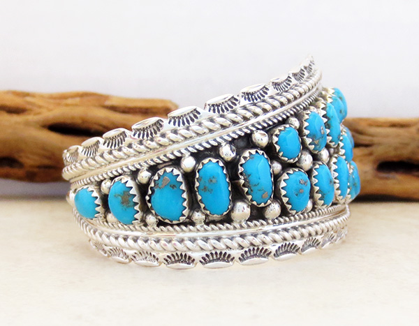 Image 2 of   Sleeping Beauty Turquoise & Sterling Silver Bracelet Navajo - 3921sn
