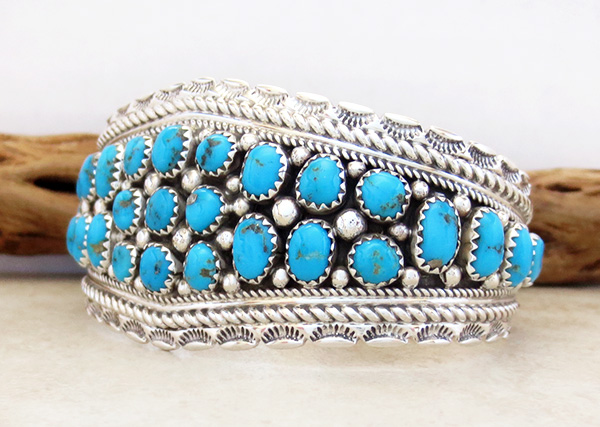 Image 3 of   Sleeping Beauty Turquoise & Sterling Silver Bracelet Navajo - 3921sn