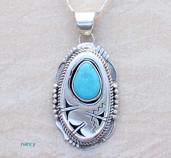Image 0 of  Royston Turquoise & Sterling Silver Pendant Bennie Ration Navajo - 3932br