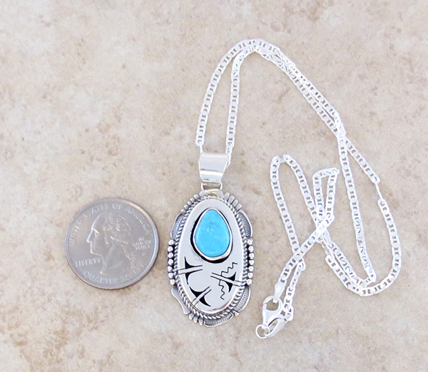 Image 1 of  Royston Turquoise & Sterling Silver Pendant Bennie Ration Navajo - 3932br