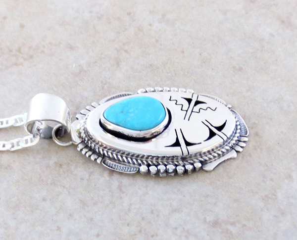 Image 2 of  Royston Turquoise & Sterling Silver Pendant Bennie Ration Navajo - 3932br