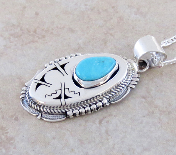 Image 3 of  Royston Turquoise & Sterling Silver Pendant Bennie Ration Navajo - 3932br