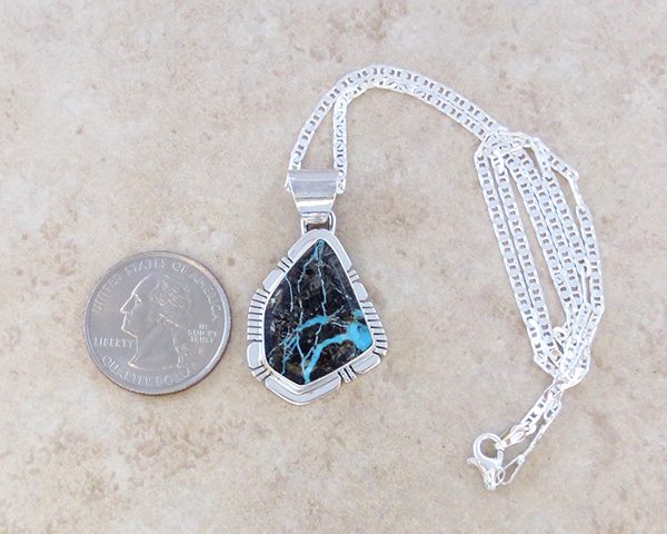 Image 1 of     Sunnyside Turquoise & Sterling Silver Pendant Philip Sanchez - 3934sn