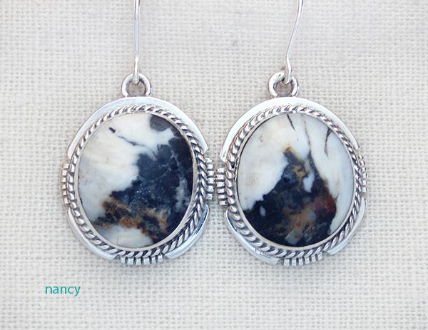 White Buffalo Stone & Sterling Silver Earrings Kathy Yazzie - 4201sn