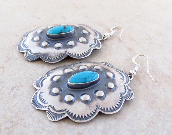 Image 1 of  Large Turquoise & Sterling Silver Earrings Robert Johnson - 3935rio