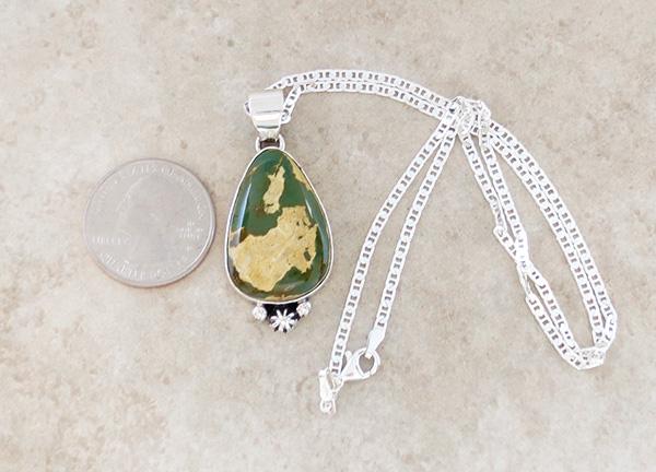 Image 1 of  Green Boulder Ribbon Turquoise & Sterling Silver Pendant Navajo - 4204sn