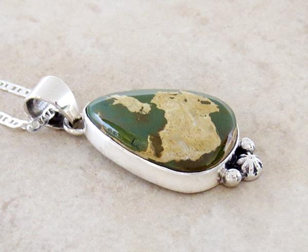 Image 2 of  Green Boulder Ribbon Turquoise & Sterling Silver Pendant Navajo - 4204sn