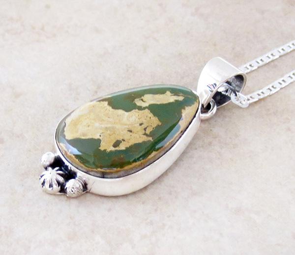 Image 3 of  Green Boulder Ribbon Turquoise & Sterling Silver Pendant Navajo - 4204sn