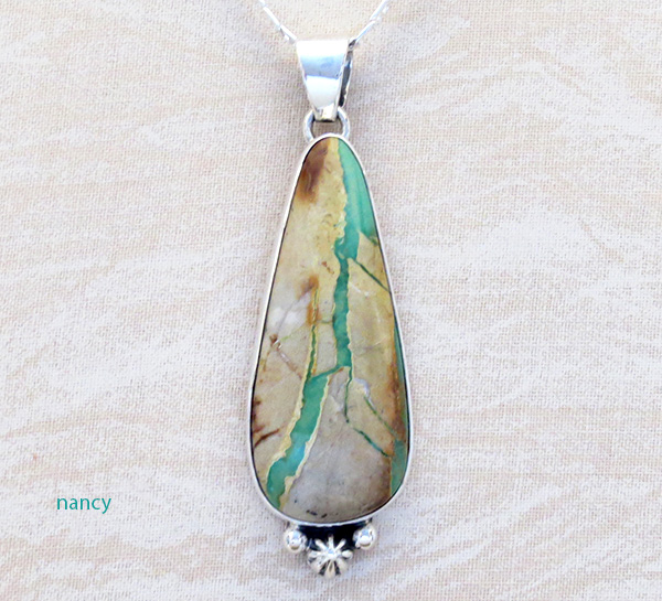 Green Boulder Ribbon Turquoise & Sterling Silver Pendant Navajo - 3938sn