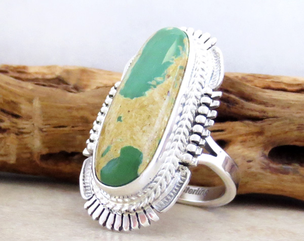 Image 2 of Boulder Turquoise & Sterling Silver Ring Size 7 Bennie Ration - 1462sn