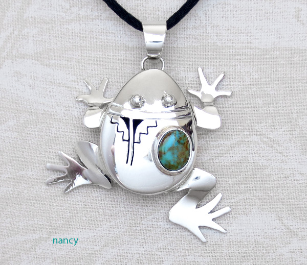 Image 0 of Turquoise & Sterling Silver Frog Pendant Bennie Ration Navajo - 3941sn