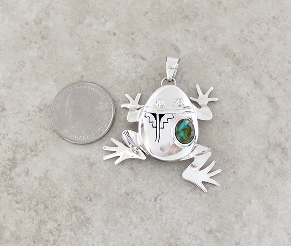 Image 1 of Turquoise & Sterling Silver Frog Pendant Bennie Ration Navajo - 3941sn
