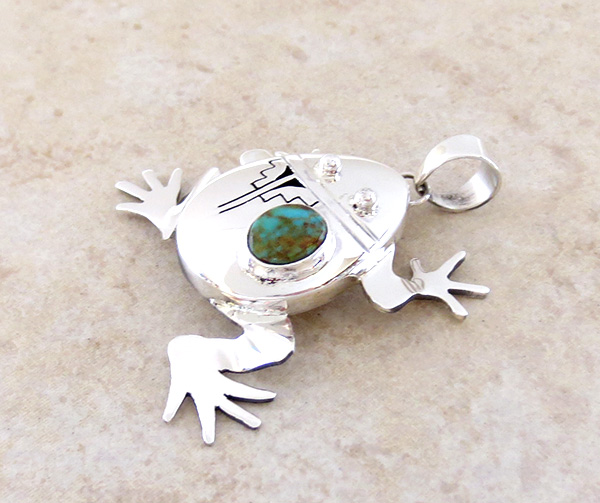 Image 3 of Turquoise & Sterling Silver Frog Pendant Bennie Ration Navajo - 3941sn