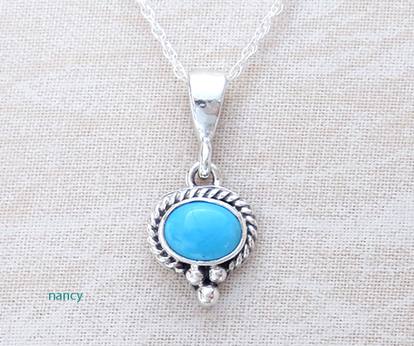 Tiny Sleeping Beauty Turquoise & Sterling Silver Pendant - 3942sn