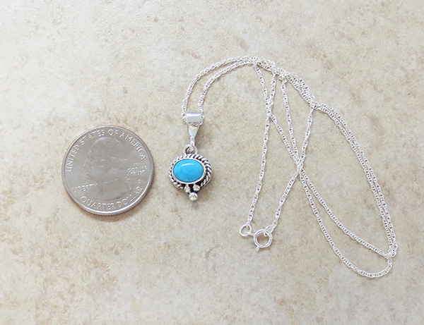 Image 1 of Native American Jewelry Turquoise & Sterling Silver Pendant - 3942sn