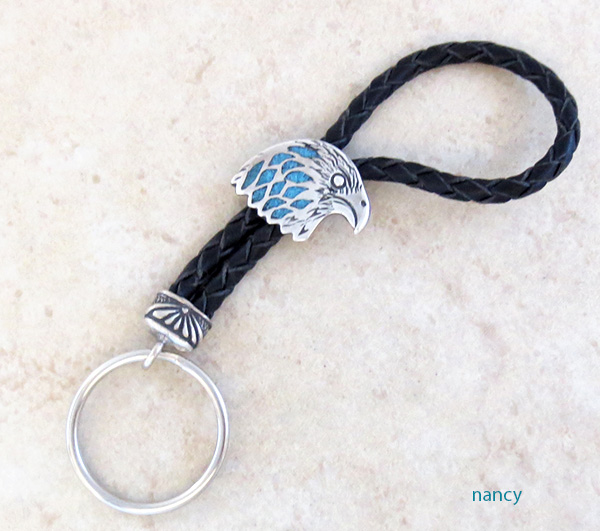 Turquoise Chip Inlay Eagle r & Sterling Silver Key Ring Navajo - 1438rb