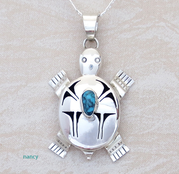 Image 0 of  Turquoise & Sterling Silver Turtle Pendant Bennie Ration Navajo - 3678br