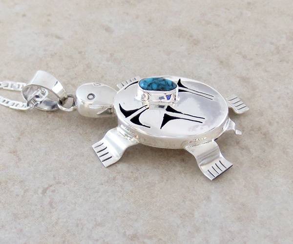 Image 2 of  Turquoise & Sterling Silver Turtle Pendant Bennie Ration Navajo - 3678br