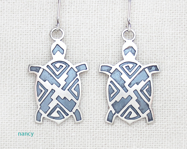 Sterling Silver Turtle Earrings Native American Made - 3796sn