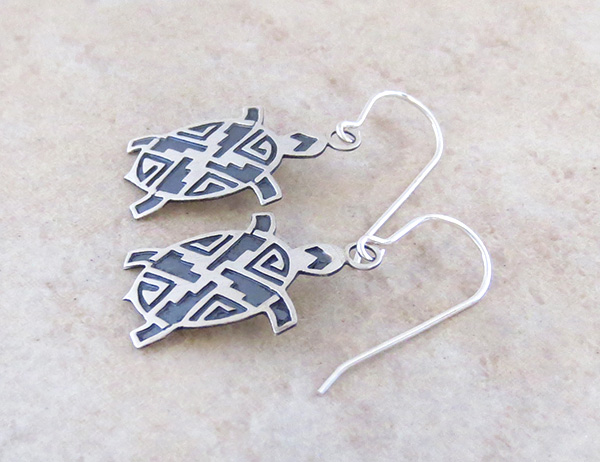 Image 1 of  Sterling Silver Turtle Earrings Navajo Made - 3796sn