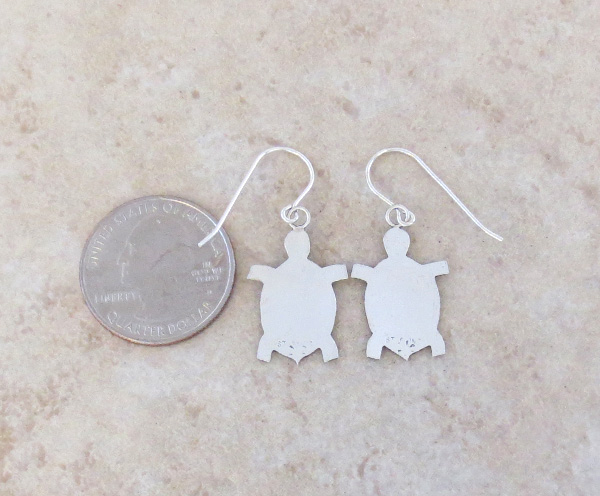 Image 2 of  Sterling Silver Turtle Earrings Navajo Made - 3796sn