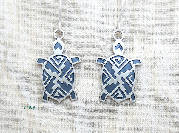 Image 0 of  Sterling Silver Turtle Earrings Native American Jewelry - 3796sn