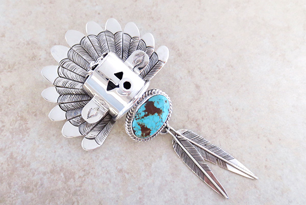Image 0 of Sterling Silver Morning Singer Kachina Pendant with Turquoise - 4107sn