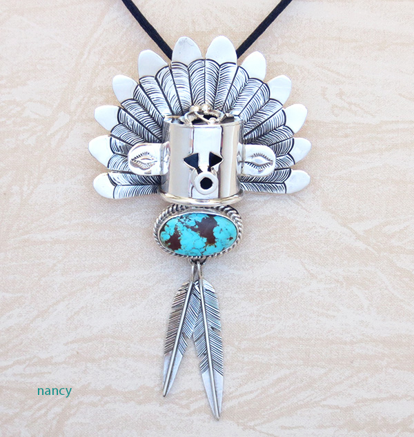 Image 1 of Sterling Silver Morning Singer Kachina Pendant with Turquoise - 4107sn
