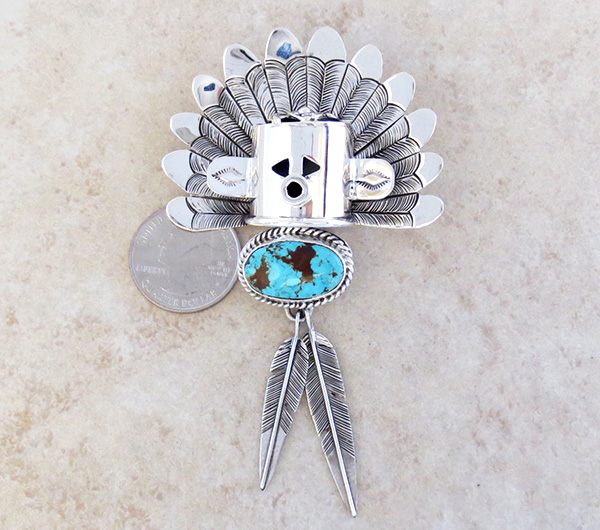 Image 2 of Sterling Silver Morning Singer Kachina Pendant with Turquoise - 4107sn