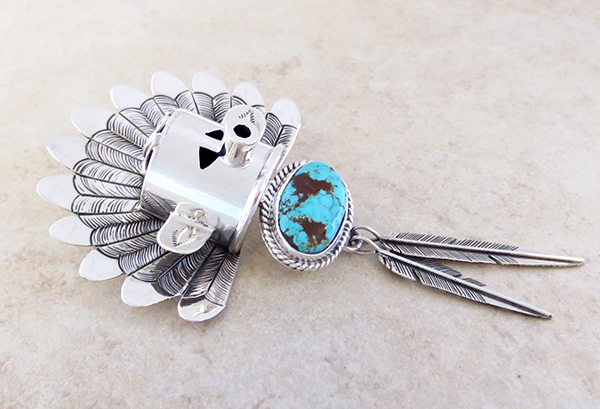 Image 4 of Sterling Silver Morning Singer Kachina Pendant with Turquoise - 4107sn