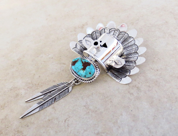 Image 5 of Sterling Silver Morning Singer Kachina Pendant with Turquoise - 4107sn