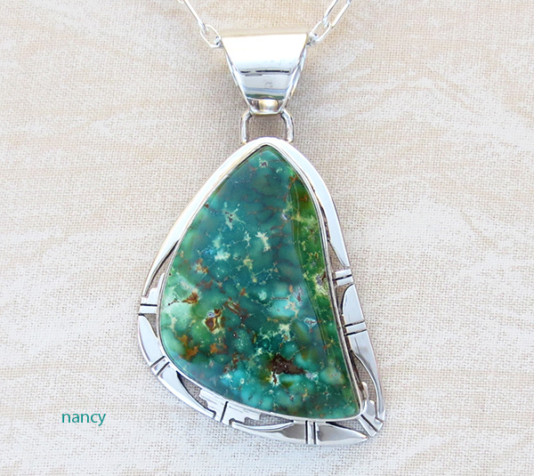 Image 0 of Green Turquoise & Sterling Silver Pendant Philp Sanchez - 3795sn