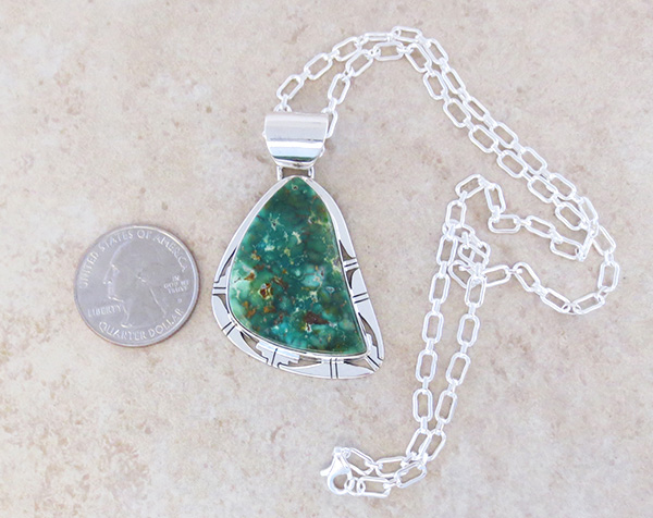 Image 1 of Green Turquoise & Sterling Silver Pendant Philp Sanchez - 3795sn