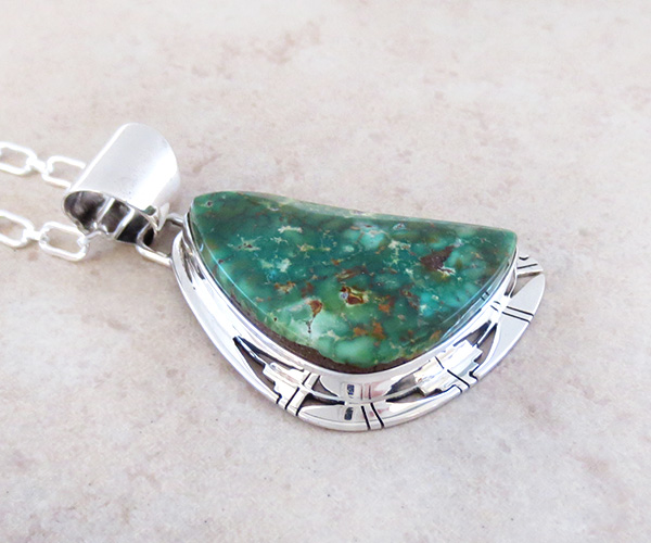 Image 2 of Green Turquoise & Sterling Silver Pendant Philp Sanchez - 3795sn